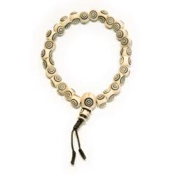 Wasserbüffel Armband Handmala mit Kreis weiß