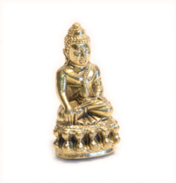 Statue mini Shakyamuni mit Schale Messing