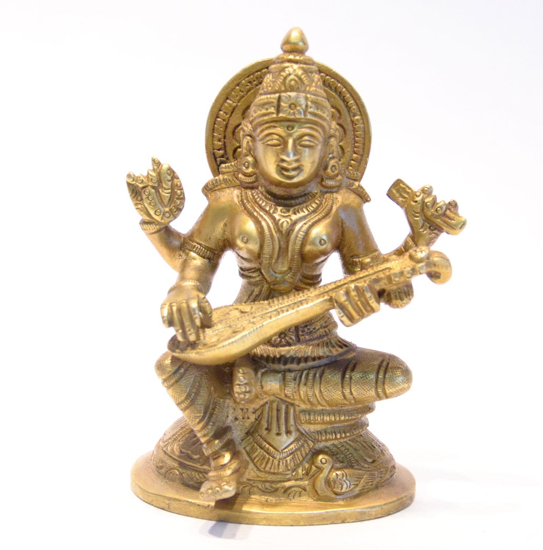 Saraswati Statue Messing 12cm