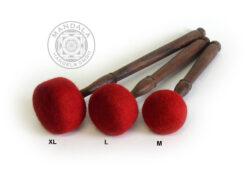 Klangschalen Klöppel Holz mit Filz rot (L)